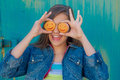 Cheerful Girl With A Round Pastry Royalty Free Stock Images - 75536619