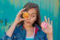 Cheerful Girl With A Round Pastry Stock Images - 75537584