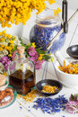 Bottles Of Tincture, Mortar, Jar Of Healthy Herbs And Scales Royalty Free Stock Photo - 75538015