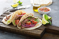 Steak Tacos With Sliced Meet, Salad And Tomato Salsa Stock Photo - 75539990