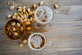 Two Oktoberfest Beers With Pistachio Nuts On A Wooden Table Stock Images - 75544664
