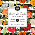 Save The Date Wedding Card.  Summer And Autumn Flowers Royalty Free Stock Image - 75545146