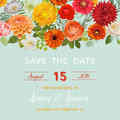 Save The Date Wedding Card.  Summer And Autumn Flowers Stock Photography - 75545172