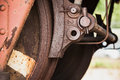 Red Rusted Wheel With Brake Of Railway Carriage Royalty Free Stock Image - 75551006