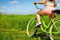Young Sexy Woman Sexy Back On Bicycle Cruiser In Nature. Stock Photo - 75551960