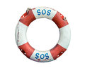 Lifebuoy With SOS Text Stock Photography - 75553252