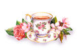 Teacup And Tea Pot With Pink Flowers. Watercolor Stock Photography - 75599022