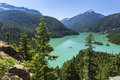 Trees Above Turquoise Diable Lake Royalty Free Stock Image - 75601606