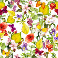 Autumn Flowers, Butterflies. Ditsy Repeating Floral Pattern. Watercolor Stock Photography - 75631982