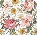 Seamless Pattern. Realistic Isolated Flowers. Vintage Background. Chamomile Rose Hibiscus Mallow. Wallpaper. Drawing Engraving. Royalty Free Stock Photography - 75643707