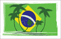 Flag Of Brasil Design With Hand Drawn Palm Trees Royalty Free Stock Photo - 75662615