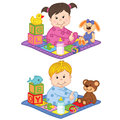 Baby Boy And Girl Sit On The Carpet With Toys Royalty Free Stock Photo - 75670835