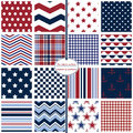 Seamless Background Patterns In Red, White And Blue. Royalty Free Stock Photos - 75681828