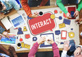 Interact Communicate Connect Social Media Social Networking Conc Stock Image - 75687311