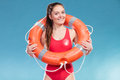Lifeguard Woman On Duty With Ring Buoy Lifebuoy. Royalty Free Stock Images - 75689969