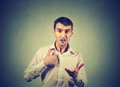 Angry Guy Pointing At Himself Asking You Mean Me, You Talking To Me Royalty Free Stock Photo - 75691765