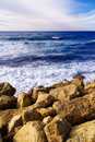 Tranquil Coastline Scene - Rocks And Sea Waves Stock Image - 7571131