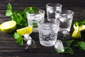 Cocktail With Soda Water, Ice, Lime And Mint Stock Image - 75719941