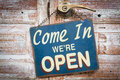 Come In We Re Open On The Wooden Door, Retro Vintage Style Stock Photos - 75738723