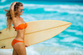 Beautiful Girl On Beach With Surfboard Royalty Free Stock Photos - 75738778