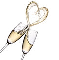 Glasses Of Champagne With Heart Shape Splash Stock Photos - 75741313
