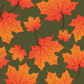 Autumn Leaves, Seamless Pattern, Vector Background. Yellow Orange Maple Leaf On A Green . For The Design Of Wallpaper Royalty Free Stock Photo - 75742015