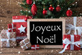 Colorful Tree With Snowflakes, Joyeux Noel Means Merry Christmas Royalty Free Stock Images - 75749129