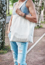Woman Holding Empty Canvas Bag. Template Mock Up Stock Photos - 75752893