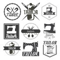 Vector Set Of Vintage Sewing Logo, Design Elements And Emblems. Tailor Shop Labels Royalty Free Stock Images - 75753829