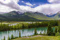 Bow River And Valley In Banff National Park Stock Photos - 75756463