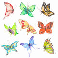 Watercolor Butterflies Set. Royalty Free Stock Photography - 75781127