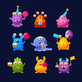 Fantastic Monsters With Birthday Party Objects Royalty Free Stock Image - 75799026