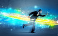 Business Man Running In High Tech Wave Concept Royalty Free Stock Photo - 75806065