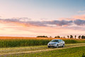 Volkswagen Polo Car Parking On Wheat Field. Sunset Sunrise Dramatic Sky Stock Image - 75806401