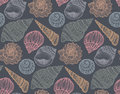 Seamless Pattern With Hand Drawn Ornate Seashells. Royalty Free Stock Images - 75812469
