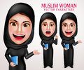 Muslim Woman Vector Character Set Holding Book With Friendly Smile Royalty Free Stock Photos - 75822878