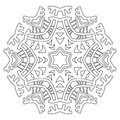 Round Ornament For Coloring Books. Black, White Pattern. Lace, Snowflake Stock Images - 75825264