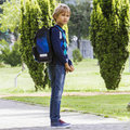 Pupil With Backpack Ready Go To School. Outdoor. Stock Photo - 75843140