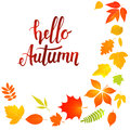 Hello Autumn Lettering With Yellow Leaves Royalty Free Stock Images - 75852379