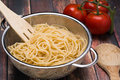 Spaghetti In A Stainless Steel Collander Royalty Free Stock Images - 75867309
