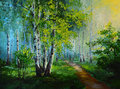 Oil Painting Landscape - Birch Forest, Abstract Drawing Royalty Free Stock Image - 75870246