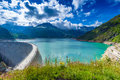 Dam At Lake Emosson Near Chamonix (France) And Finhaut (Switzerland) Stock Image - 75874871