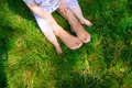 Feet Happy Loving Mother And Her Child Outdoors Royalty Free Stock Image - 75875106