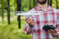 Unrecognizable Man Running Drone With Camera Royalty Free Stock Image - 75883456