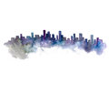 Watercolor Silhouette Of City Stock Images - 75884454
