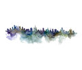 Watercolor Silhouette Of City Stock Images - 75884504