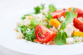 Homemade Autumn Healthy Salad With Quinoa, Salad Leaves, Tomatoes, Pumpkin And Feta Cheese On A White Plate Stock Image - 75885831