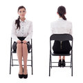 Front And Back View Of Young Woman Sitting On Office Chair Isola Stock Photo - 75886240