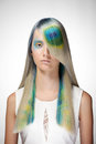 Girl With Professional Hair Colouring And Creative Make Up In Peacock Style Royalty Free Stock Image - 75888226