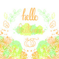 Hello Autumn Card With Lettering. Royalty Free Stock Images - 75928589
